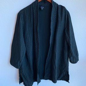 Eileen Fisher Black Textured Kimono Style Sweater